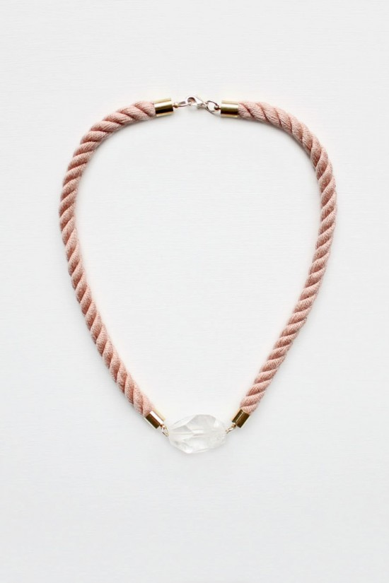 Twisted Rope and Quartz Necklace