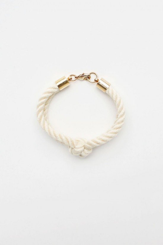 Square Knot Rope Bracelet in Cream