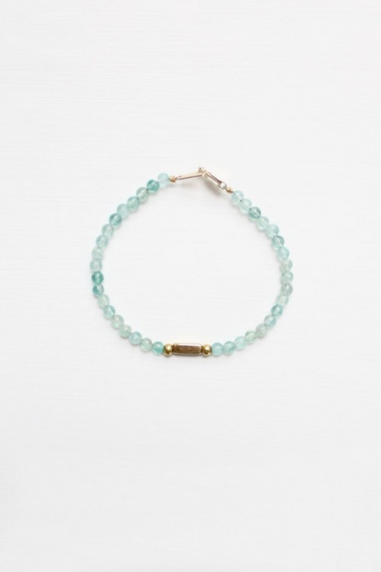 Apatite and Brass Bracelet