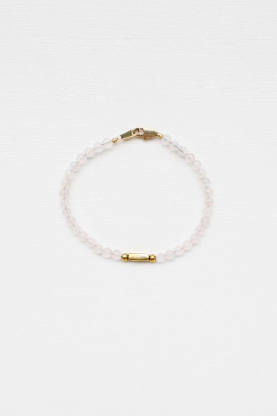 Rose Quartz and Brass Bracelet