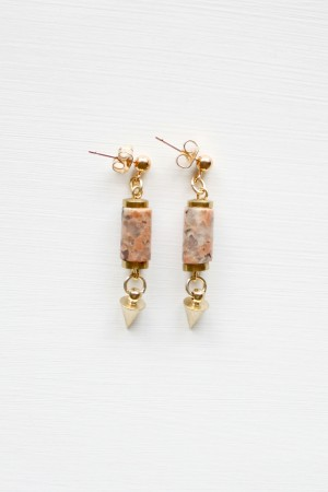 Feldspar and Brass Earrings