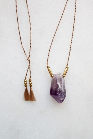 Amethyst and Silk Necklace