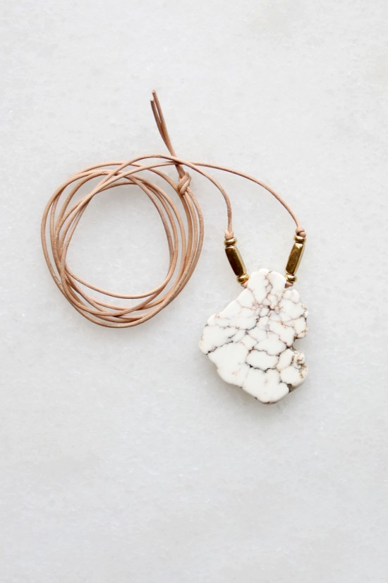 Magnesite and Leather Necklace