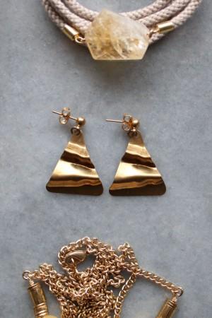 Brass Triangle Earrings