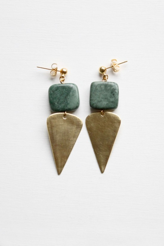 Marble and Brass Drop Earrings