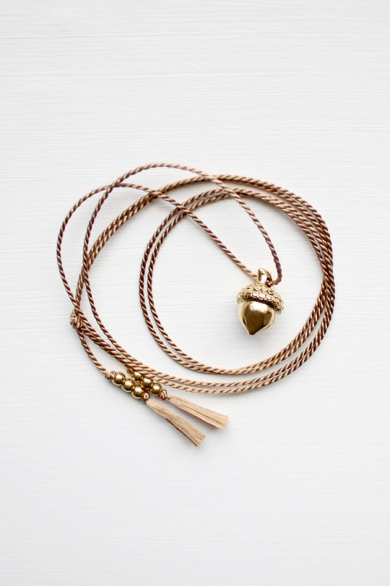 Acorn and Silk Cord Necklace