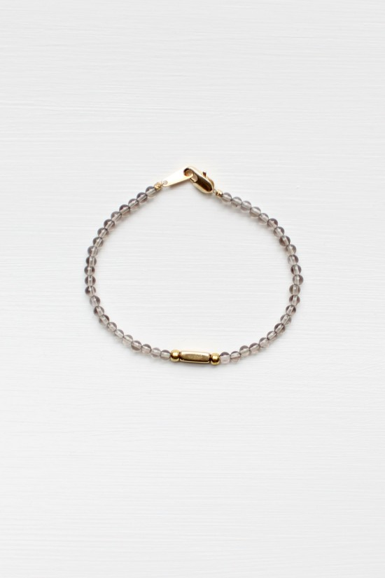 Smoky Quartz and Brass Bracelet