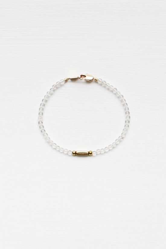 Crystal Quartz and Brass Bracelet