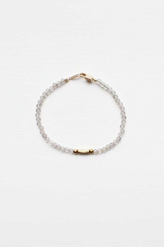 Grey Agate and Brass Bracelet