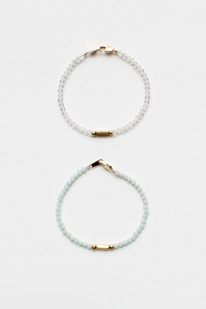 Amazonite and Quartz Bracelet Set
