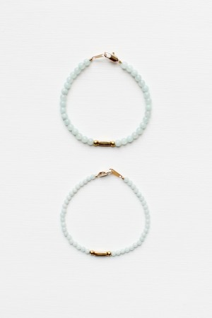 Amazonite and Brass Bracelet Set