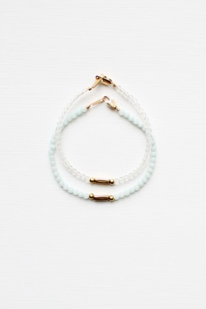 Amazonite and Quartz Bracelet Set