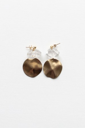 Crystal Quartz and Brass Earrings
