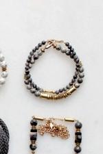 Larvikite and Brass Bracelet