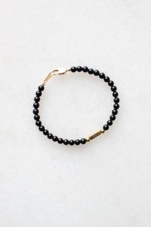 Obsidian and Brass Bracelet