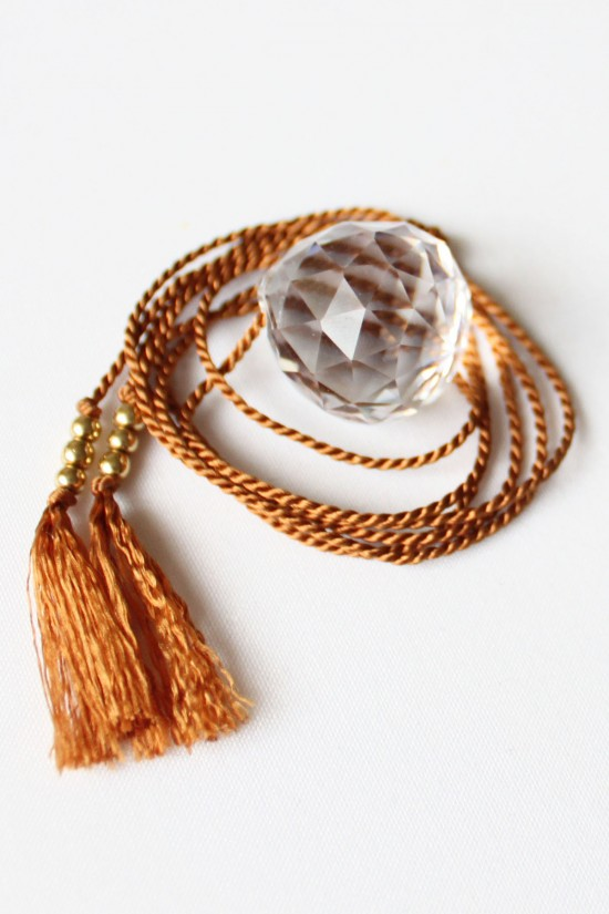 Silk Cord and Crystal Necklace