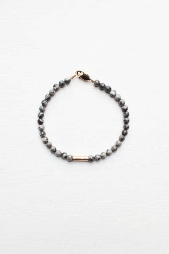 Black Lace Marble Bracelet - 14kt gold fill