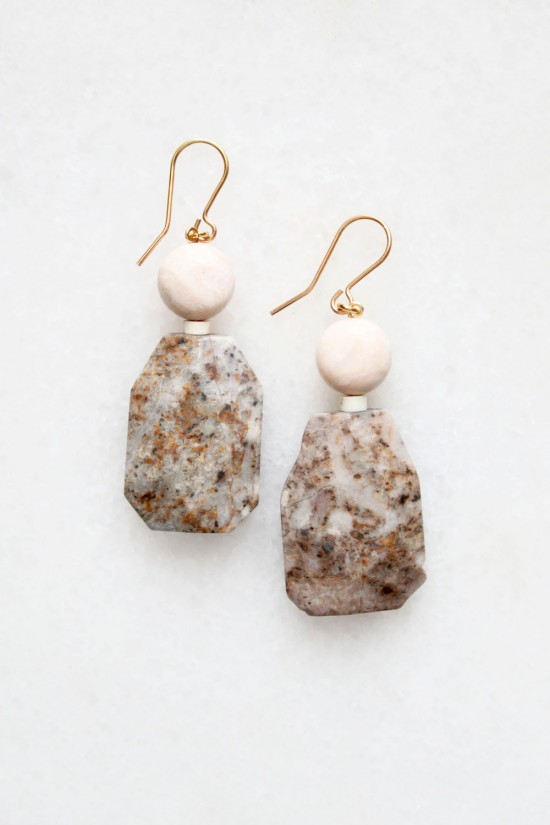 Feldspar and Opal Earrings