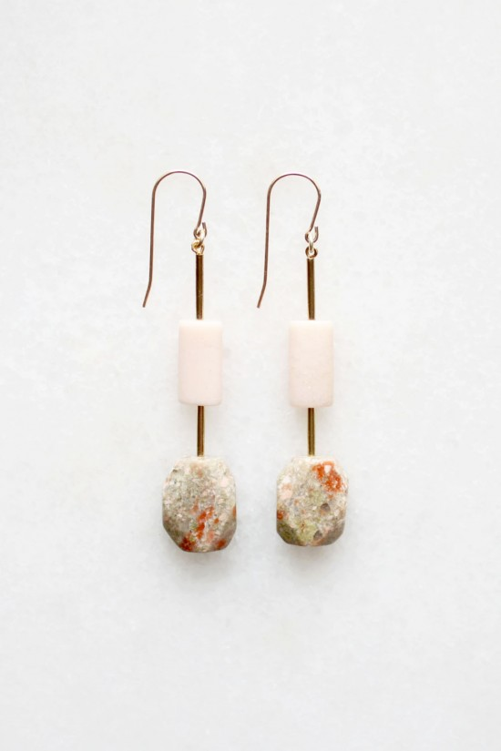 Pink Opal and Feldspar Earrings
