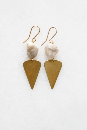 Moonstone and Brass Drop Earrings