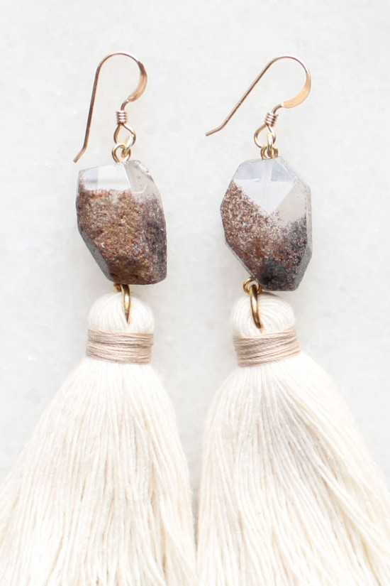 Smoky Quartz Tassel Earrings