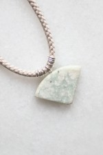 Braided Cord and Marble Necklace - sterling silver