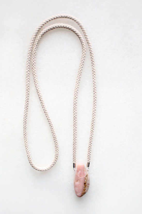 Pink Opal and Braided Cord Necklace - sterling silver