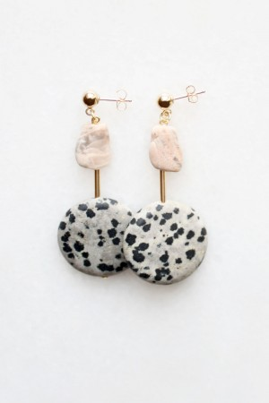 Dalmatian and Moonstone Earrings