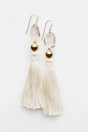 Smoky Quartz Silk Tassel Earrings
