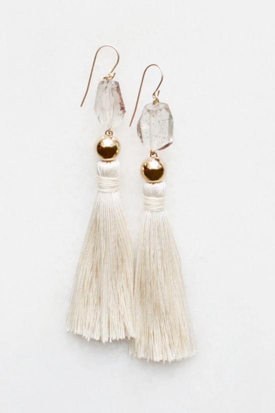 Smoky Quartz Silk Tassel Earrings