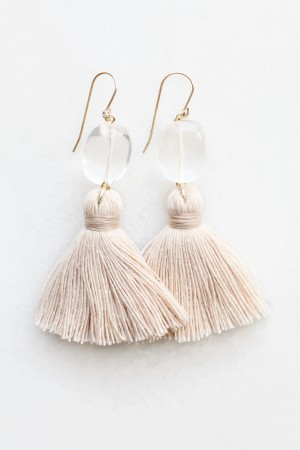 Quartz Tassel Earrings in Peach Blush
