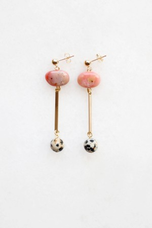 Pink Opal and Dalmatian Stone Earrings