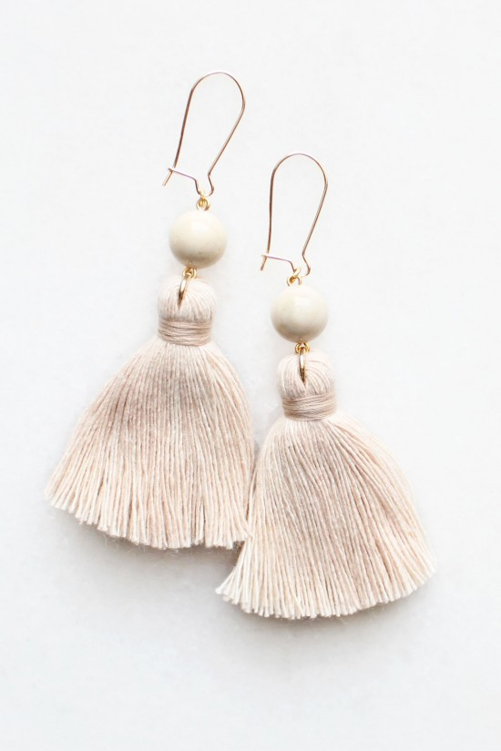 Riverstone Tassel Earrings in Peach Blush
