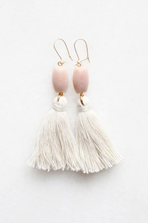 Pink Opal Tassel Earrings