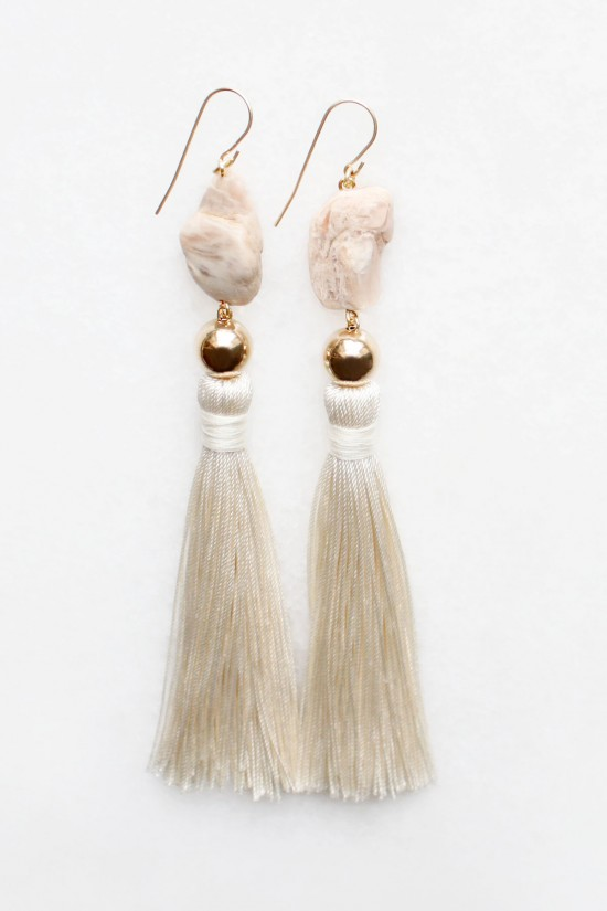 Moonstone and Silk Earrings
