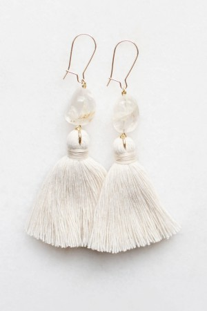 Quartz Tassel Earrings in Natural