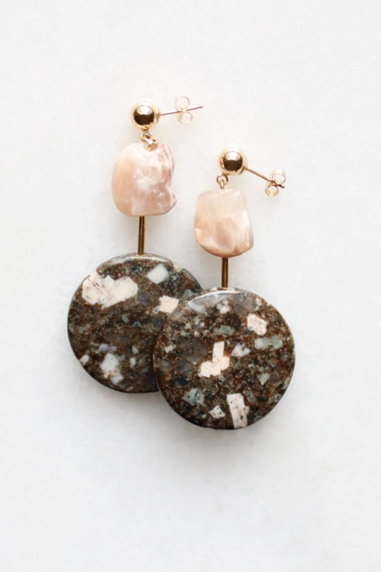 Moonstone and Jasper Earrings