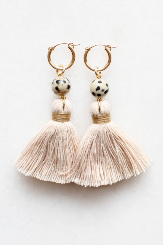 Dalmatian Stone Tassel Earrings