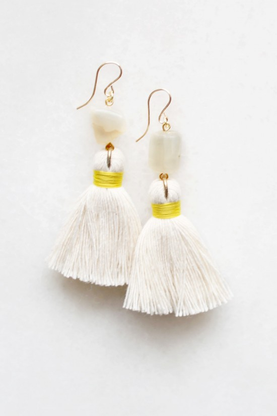 Moonstone Tassel Earrings in Cotton