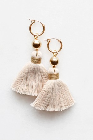 Cotton Tassel Earrings in Peach Nougat