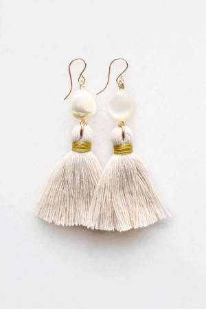 Mother of Pearl Tassel Earrings in Peach Blush