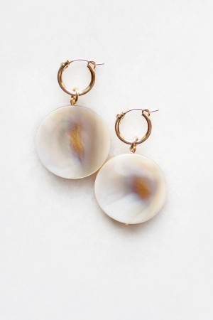 Shell Drop Hoop Earrings