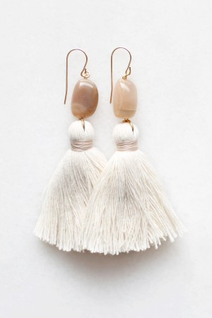 Peach Moonstone Tassel Earrings
