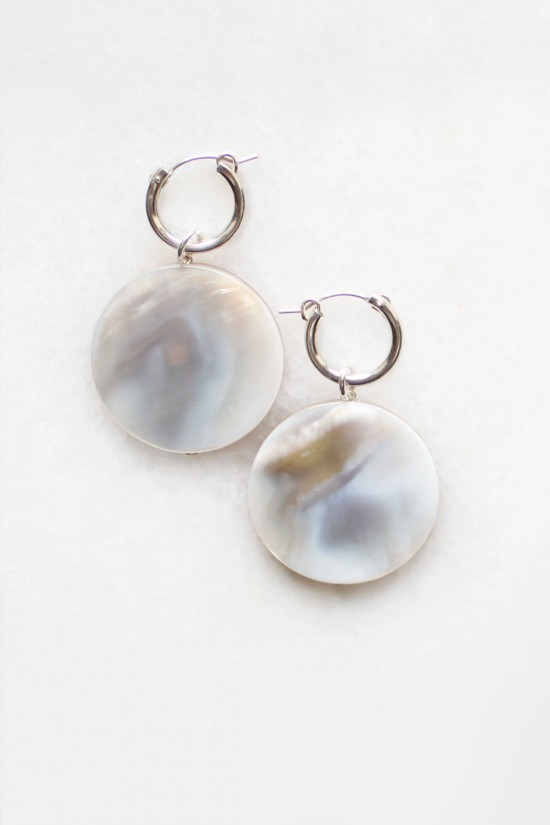 Shell Drop Hoop Earrings - Sterling Silver