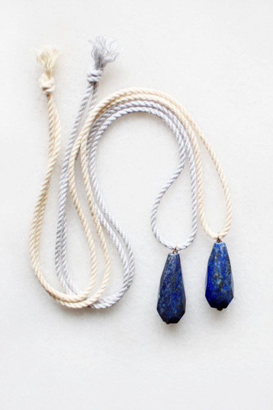 Lapis Lazuli and Rope Pendant