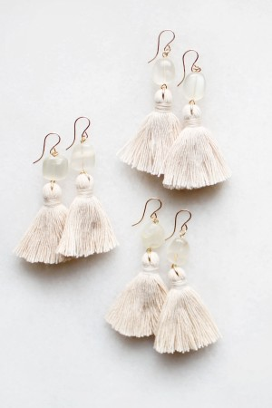 Moonstone Tassel Earrings in Peach Blush