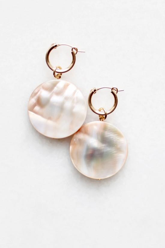 Shell Drop Hoop Earrings