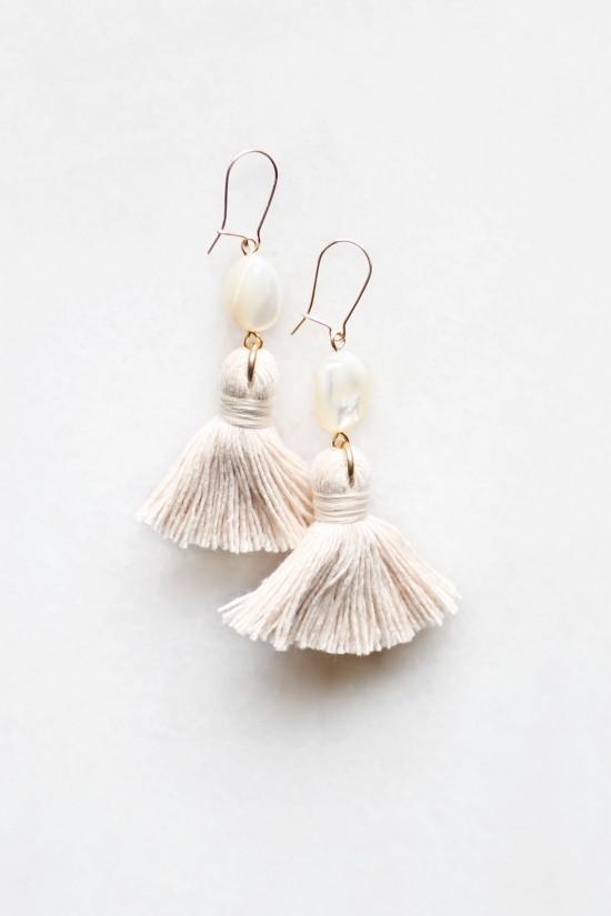 Mother of Pearl Tassel Earrings - Small
