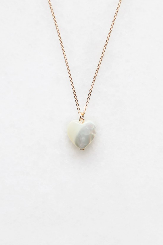 Mother of Pearl Heart Necklace - 14kt gold fill