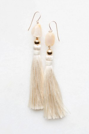 Moonstone and Silk Tassel Earrings